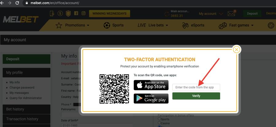 two-factor authentication Melbet