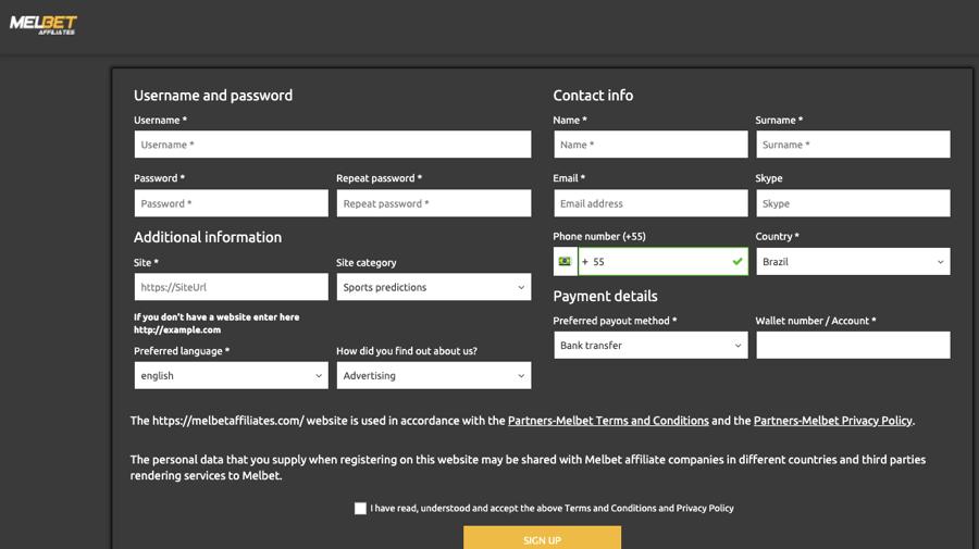 Registration in Melbet affiliates